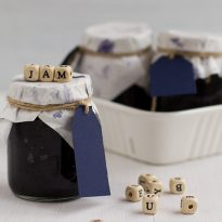 Blueberry jam in baby food jars